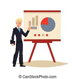 Businessman giving presentation using a board