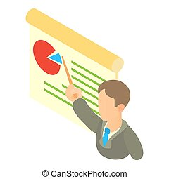 Businessman giving presentation with a board icon