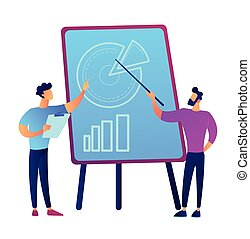 Businessman giving presentation with pie chart graph on board vector illustration.