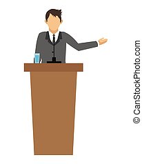 businessman giving speech icon