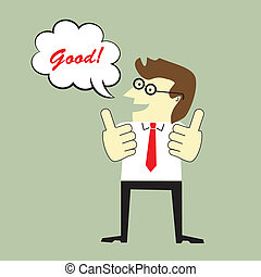 Businessman giving thumbs up and say good