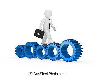 businessman go on blue gear