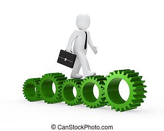 businessman go on green gear