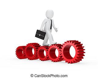 businessman go on red gear