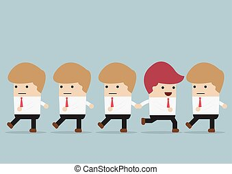 Businessman go to different way of