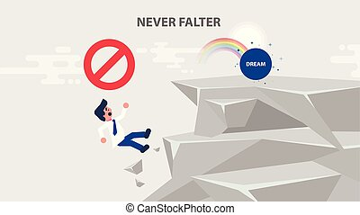businessman goes to dream and climbs up rock - Vector...