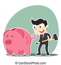 businessman going to break piggy bank