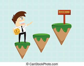 Businessman going to success sign .vector illustration
