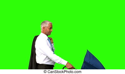 Businessman going under his umbrella on green screen in slow...
