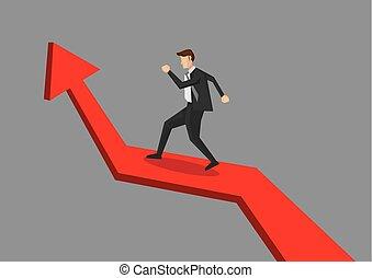Businessman Going Up Arrow Chart