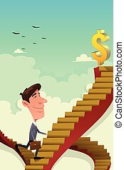 A vector illustration of businessman going up on a career ladder
