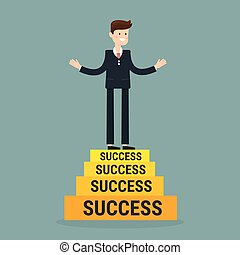 Businessman going up to success, vector eps10.