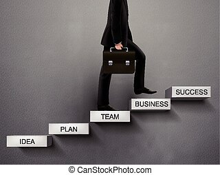 businessman going up to the success way over grey