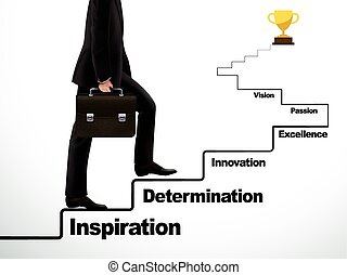 businessman going up to the success way over white