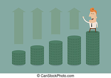 Businessman graph up , eps10 vector