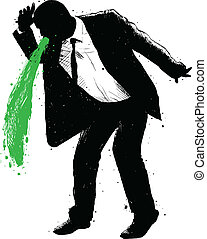 Businessman Green Vomit - A silhouette of a businessman...
