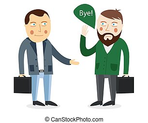 Businessman greeting partner  concept. Business meeting. Colleagues say goodbye or Hello. Handshake men. Communication men businessmen. Deal between people