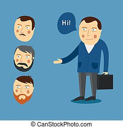 Businessman greeting partner vector concept. Business meeting. Colleagues say goodbye or Hello. Handshake men. Communication men businessmen. Deal between people