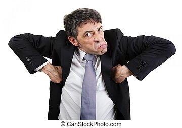 Businessman grimacing - Weird businessman doing the monkey...