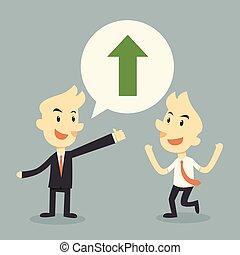 businessman growing chart