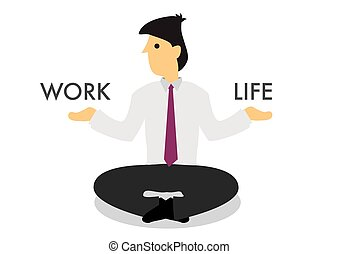 Businessman guru deciding to spend his time on his work or his life. Concept of multitasking or work-life balance.