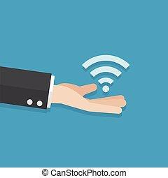 businessman han give wireless signal