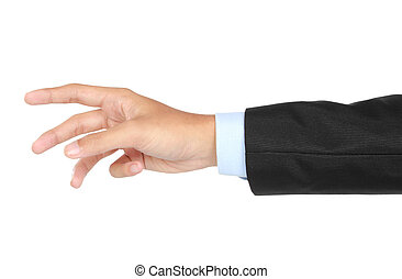businessman hand and arm reaching for something