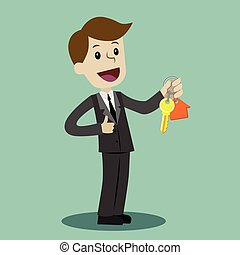 Businessman hand buying a house. Realtors hand giving keys to client. Real Estate Concept