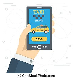 Businessman hand call taxi service by smart phone