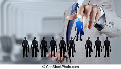 businessman hand choosing people icon as human resources...