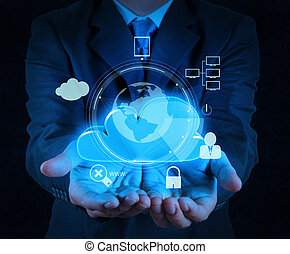 businessman hand cloud 3d icon on touch screen computer as Internet security online business concept
