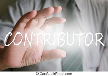 businessman hand, contributor text