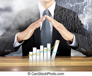 Businessman hand cover increasing graph with rain thunder storm background