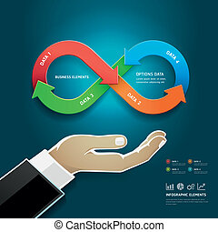 Businessman hand diagram. - Businessman hand with business...