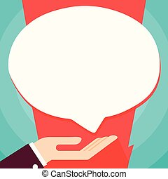 Businessman Hand Doing the Donation Sign Icon. Palm Up in Supine Position under Round Blank White Speech Bubble. Creative Idea for Charitable Institution, Foundation, Volunteering.
