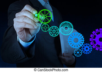 businessman hand draw leader cog gear to success concept