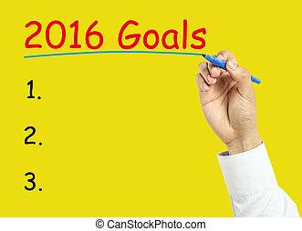 Businessman hand drawing 2016 goals concept