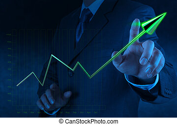 businessman hand drawing 3d virtual chart business on touch screen computer
