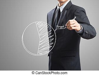 businessman hand drawing a pie chart