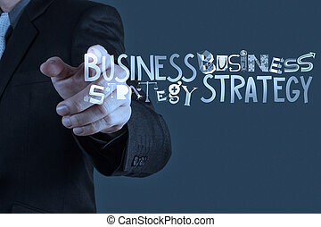 businessman hand drawing business strategy as concept