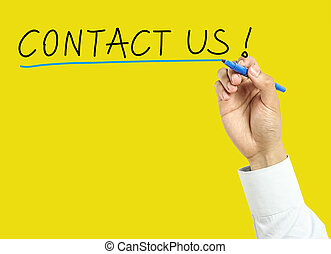 Businessman hand drawing contact us concept