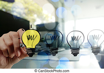 businessman hand drawing creative business strategy with light b