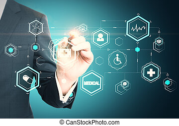 Businessman hand drawing creative glowing medical interface