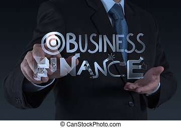 businessman hand drawing design word BUSINESS FINANCE as concept