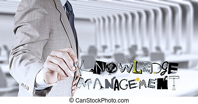 businessman hand drawing design word KNOWLEDGE MANAGEMENT as concept