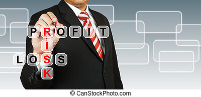 Businessman hand drawing Profit, Risk, and Loss