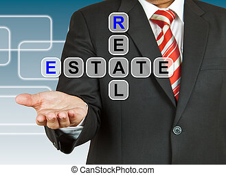 Businessman hand drawing Real Estate