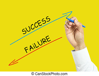 Businessman hand drawing success and failure concept