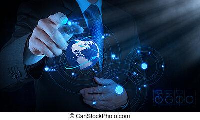 businessman hand drawing virtual chart business