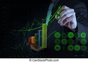 businessman hand drawing virtual chart business on touch screen computer as concept